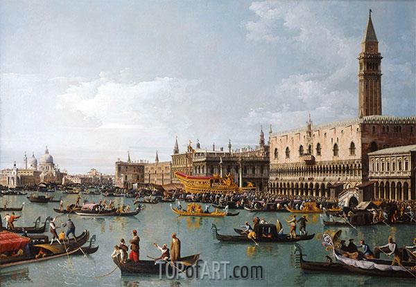 Das Becken von San Marco am Himmelfahrtstag, Venedig, c.1739/40 | Bernardo Bellotto | Gemälde Reproduktion