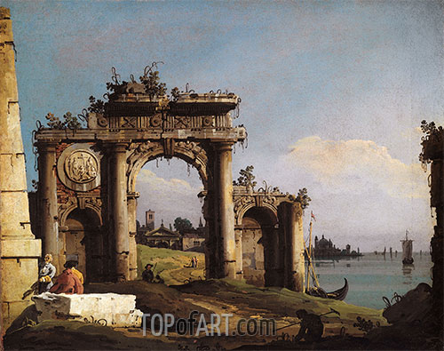 Capriccio with a Triumphal Arch on the Banks of the Lagoon, c.1743 | Bernardo Bellotto | Painting Reproduction