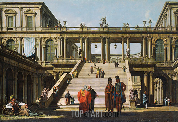 Bernardo Bellotto | Architectural Fantasy with a Palace Stairway, 1762