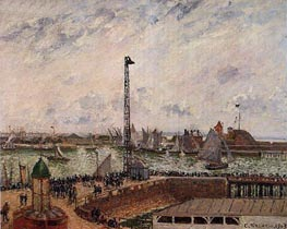 The Pilots' Jetty, Le Havre, Morning, Cloudy | Pissarro | Painting Reproduction
