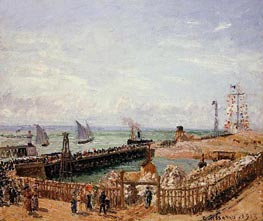 The Jetty, Le Havre - High Tide, Morning Sun, 1903 von Pissarro | Gemälde-Reproduktion