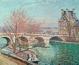 The Pont Royal and the Pavillon de Flore, 1903 by Pissarro | Painting Reproduction