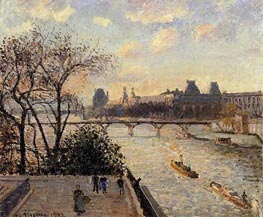 The Louvre and the Seine from the Pont-Neuf, 1902 von Pissarro | Gemälde-Reproduktion