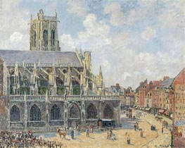 The Church of St Jacques in Dieppe, Morning Sun, 1901 by Pissarro | Painting Reproduction