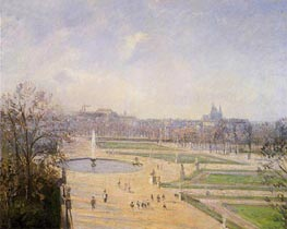 The Bassin des Tuileries - Afternoon, Sun | Pissarro | Gemälde Reproduktion