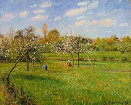 Spring Morning, Cloudy, Eragny, 1900 by Pissarro | Painting Reproduction