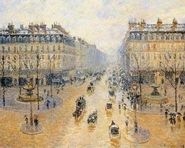 Avenue de l'Opera - Snow Effect, 1898 by Pissarro | Painting Reproduction