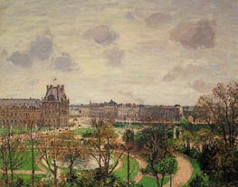 Garden of the Louvre - Morning, Grey Weather | Pissarro | Gemälde Reproduktion