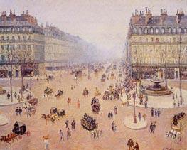 Avenue de l'Opera, Place du Theatre Francais | Pissarro | Gemälde Reproduktion