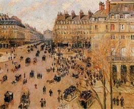 Place du Theatre Francais - Sun Effect, 1898 by Pissarro | Painting Reproduction