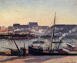 The Docks, Rouen - Afternoon, 1898 by Pissarro | Painting Reproduction