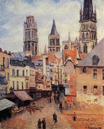 Rue de l'Epppicerie, Rouen - Morning, Grey Weather, 1898 by Pissarro | Painting Reproduction