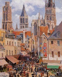 Rue de l'Epicerie, Rouen (Effect of Sunlight), 1898 by Pissarro | Painting Reproduction