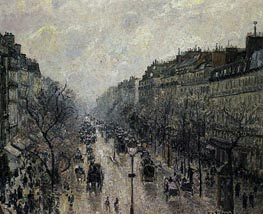 Boulevard Montmartre - Foggy Morning, 1897 by Pissarro | Painting Reproduction