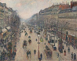 Boulevard Montmartre, Morning, Cloudy Weather | Pissarro | Gemälde Reproduktion