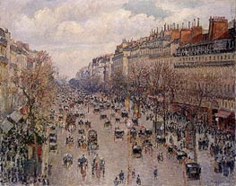 Boulevard Montmartre - Afternoon, Sunshine, 1897 by Pissarro | Painting Reproduction