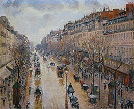 The Boulevard Montmartre, Afternoon, in the Rain | Pissarro | Gemälde Reproduktion