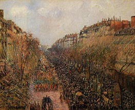 Boulevard Montmartre - Mardi-Gras, 1897 by Pissarro | Painting Reproduction