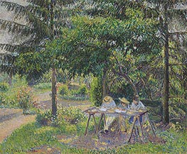 Children in a Garden at Eragny, 1892 by Pissarro | Painting Reproduction
