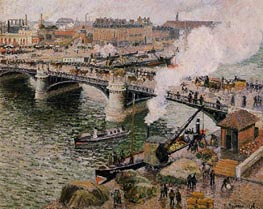 The Boieldiu Bridge, Rouen - Damp Weather | Pissarro | veraltet