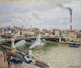 Morning, An Overcast Day, Rouen, 1896 by Pissarro | Painting Reproduction