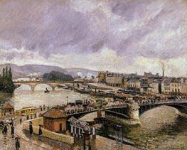 The Boieldieu Bridge, Rouen - Rain Effect | Pissarro | Gemälde Reproduktion
