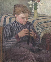 Young Girl Mending Her Stockings | Pissarro | Gemälde Reproduktion