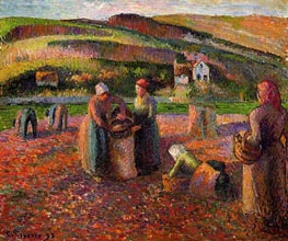 The Potato Harvest, 1893 by Pissarro | Painting Reproduction