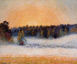 Setting Sun and Fog, Eragny, 1891 by Pissarro | Painting Reproduction
