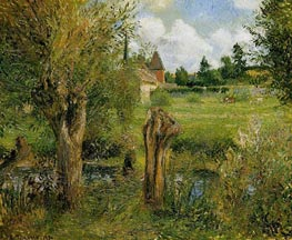 The Banks of the Epte at Eragny, 1884 by Pissarro | Painting Reproduction