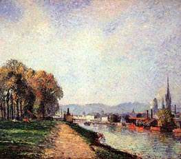 View of Rouen (Cours-la-Reine), 1883 by Pissarro | Painting Reproduction