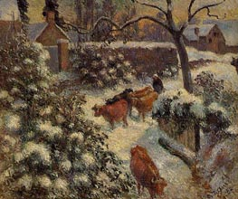 Snow Effect in Montfoucault, 1882 by Pissarro | Painting Reproduction