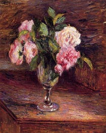 Roses in a Glass, 1877 von Pissarro | Gemälde-Reproduktion