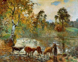 The Pond at Montfoucault, 1875 von Pissarro | Gemälde-Reproduktion