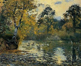 The Pond at Montfoucault, 1874 by Pissarro | Painting Reproduction
