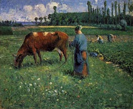 Girl Tending a Cow in a Pasture, 1874 von Pissarro | Gemälde-Reproduktion