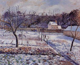 L'Hermitage, Pontoise, Snow Effect, 1874 by Pissarro | Painting Reproduction