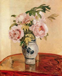 Bouquet of Pink Peonies, 1873 by Pissarro | Painting Reproduction