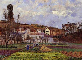 Kitchen Gardens at l'Hermitage, Pontoise, 1873 by Pissarro | Painting Reproduction