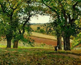 Chestnut Trees at Osny, 1873 von Pissarro | Gemälde-Reproduktion