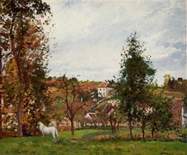 Landscape with a White Horse in a Meadow, 1872 by Pissarro | Painting Reproduction
