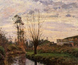 Landscape with Small Stream, 1872 by Pissarro | Painting Reproduction