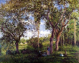 Landscape with Stollers Relaxing under the Trees | Pissarro | Gemälde Reproduktion