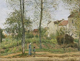 Landscape near Louveciennes, 1870 by Pissarro | Painting Reproduction
