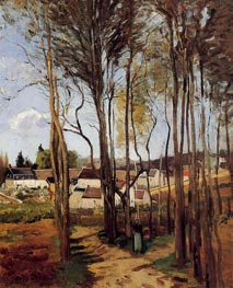 A Village Through the Trees, c.1868 by Pissarro | Painting Reproduction