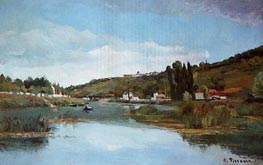 The Banks of the Marne at Chennevieres, 1864 by Pissarro | Painting Reproduction