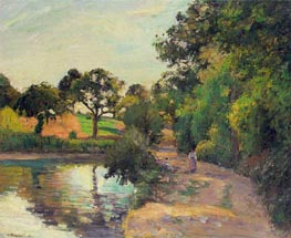 Pond at Montfoucault (Mayenne), 1874 by Pissarro | Painting Reproduction