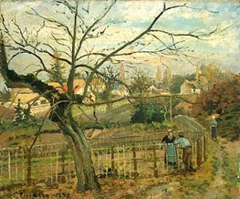 The Fence, 1872 by Pissarro | Painting Reproduction