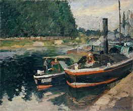 Barges at Pontoise, 1876 by Pissarro | Painting Reproduction
