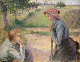 Two Young Peasant Women, 1892 by Pissarro | Painting Reproduction